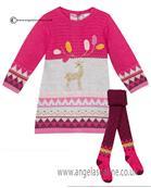 Catimini baby girls knit dress & tights CI30241-94021 Fuscia