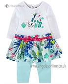 Catimini girls long sleeve dress & leggings CJ30051 white
