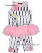 Kate Mack girls tunic & leggings 589PR Wh/Blck