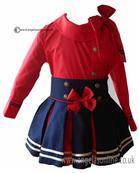 Loan Bor girls blouse & skirt 8928-17 Red
