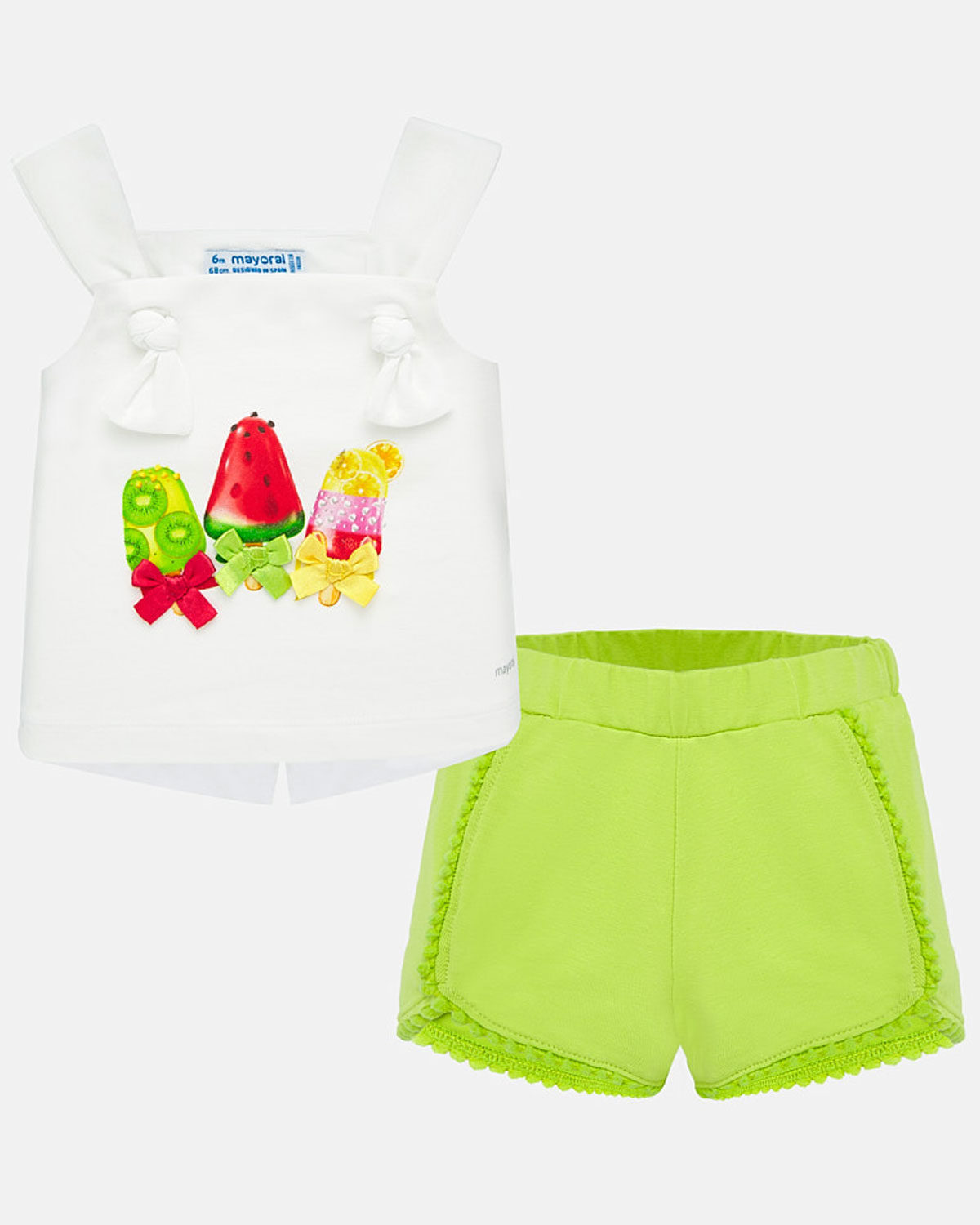 Mayoral baby girls fruit ice lolly top & plain shorts set 1206-20 Lime