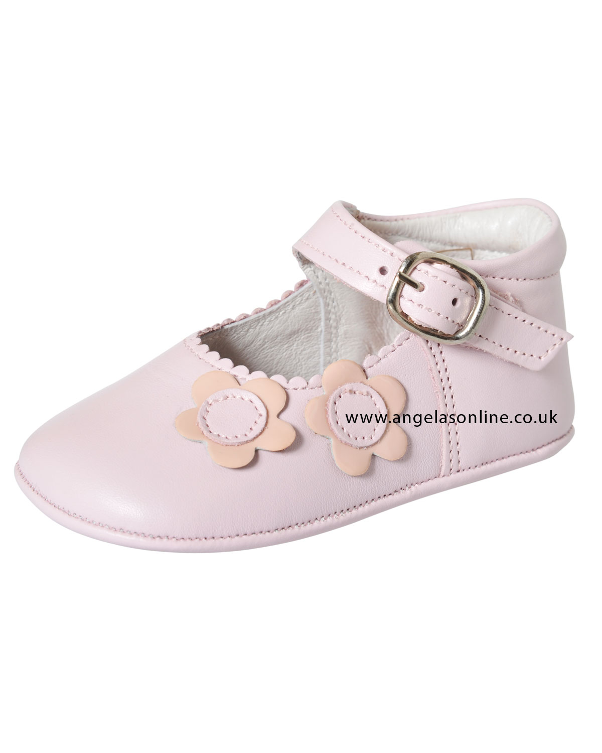ed1d2a32e64d Andanines Baby Girl Pale Pink Soft Leather Pram Shoe C10005