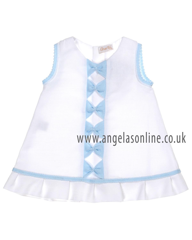 Mebi Sale Baby Girls Bow Dress 1360057 WHITE/BLUE