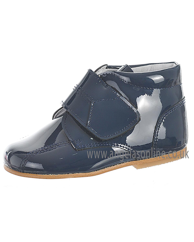 Andanines Boys Velcro Strap Navy Patent Leather Winter