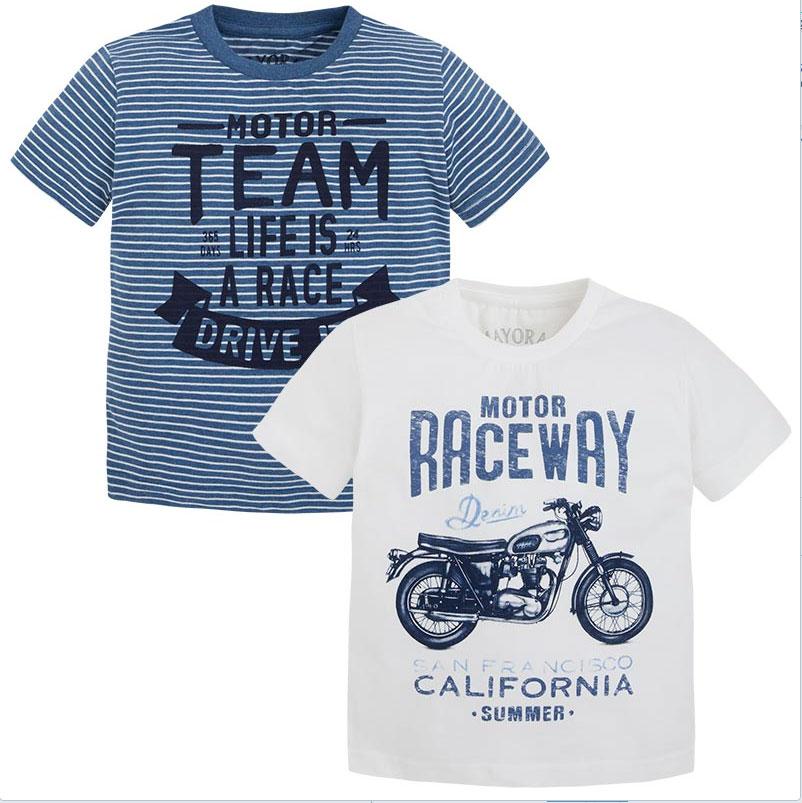 Mayoral Boys Designer Short Sleeve 2 Pack of T-Shirts 3073 ...