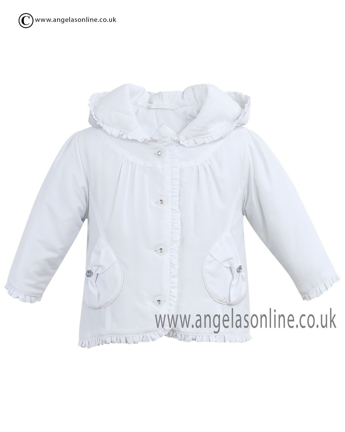 3c2b97219afd Sarah Louise Young Girls White Frilly Summer 2015 Hooded Jacket d4679