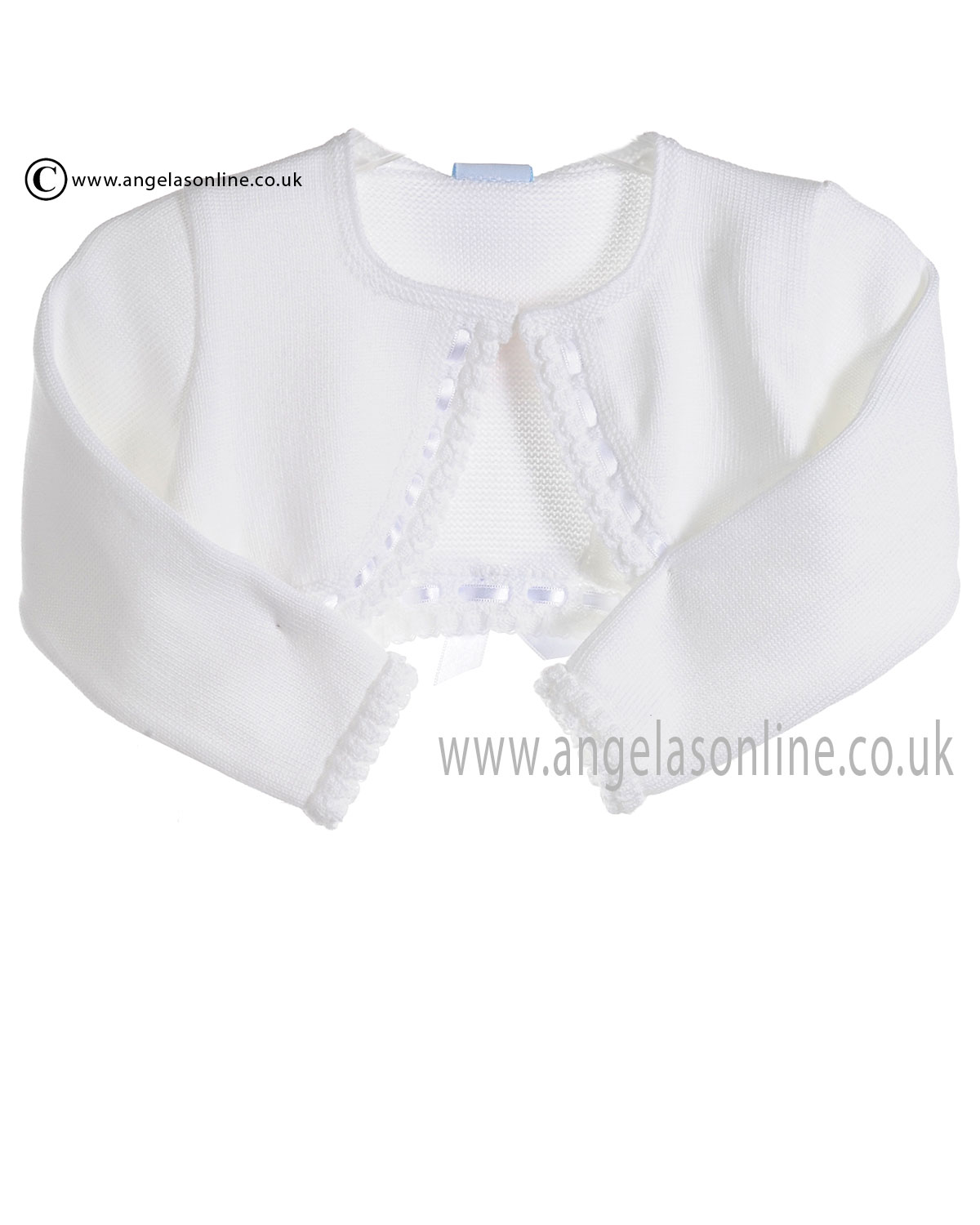 Granlei Baby Girls White Bolero Cardigan With Ribbon 278