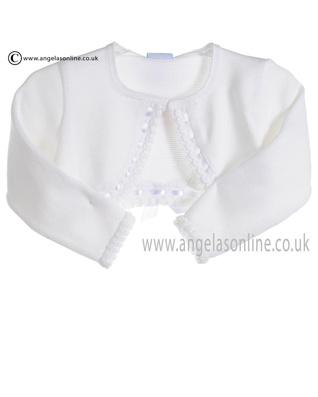 7251ba3fe Granlei Baby Girls White Bolero Cardigan with Ribbon 278
