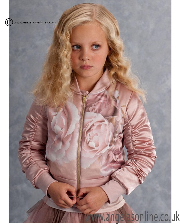 Winter 2016 Sale Kate Mack Girls Rose Print Silk Bomber ...