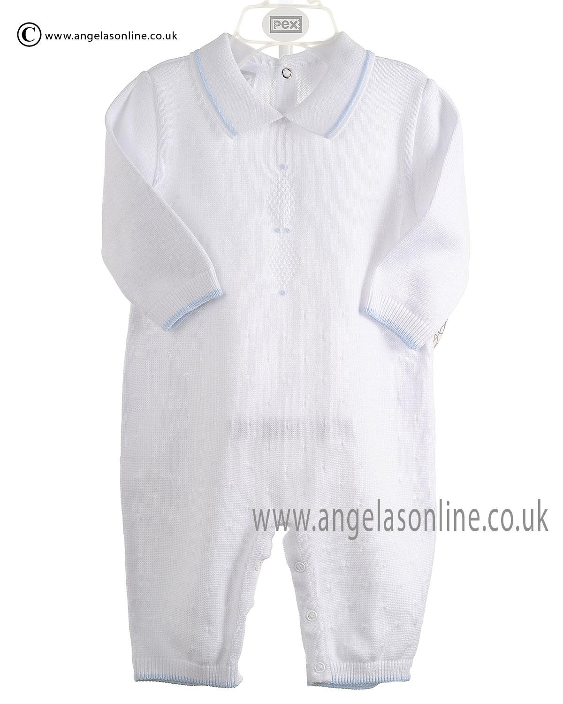 109c369fc Winter SALE Pex Baby Boys Collared Knit Romper Dudley 6067 White
