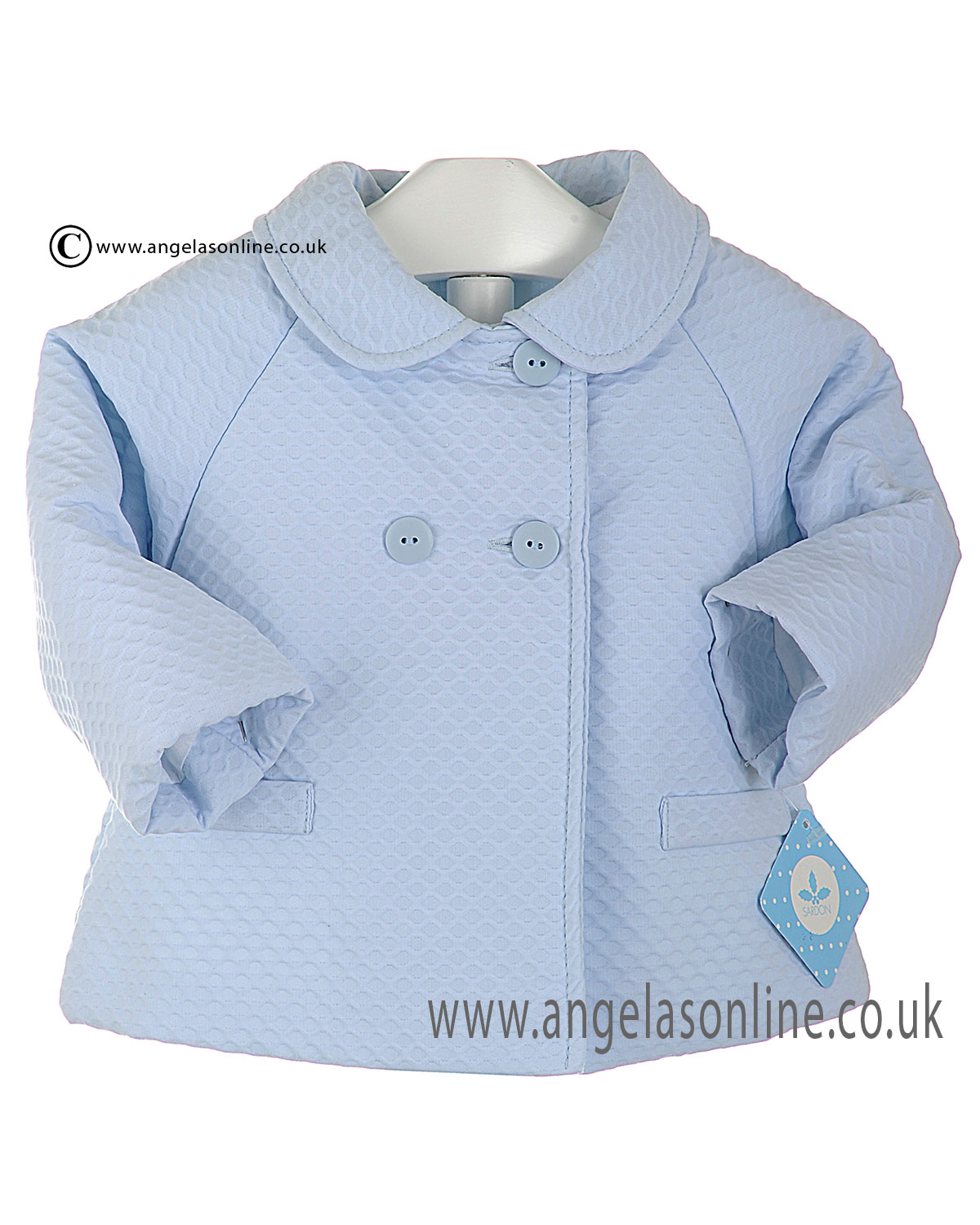 7eac53391 Sardon pale blue baby boys tailored coat with pockets AB1686 Blue