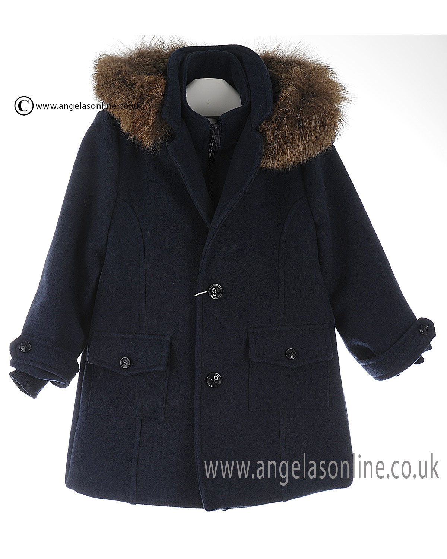 91b74de4e Winter SALE Bufi Boys Long Sleeve Fur Hooded Smart Coat 9803A Navy