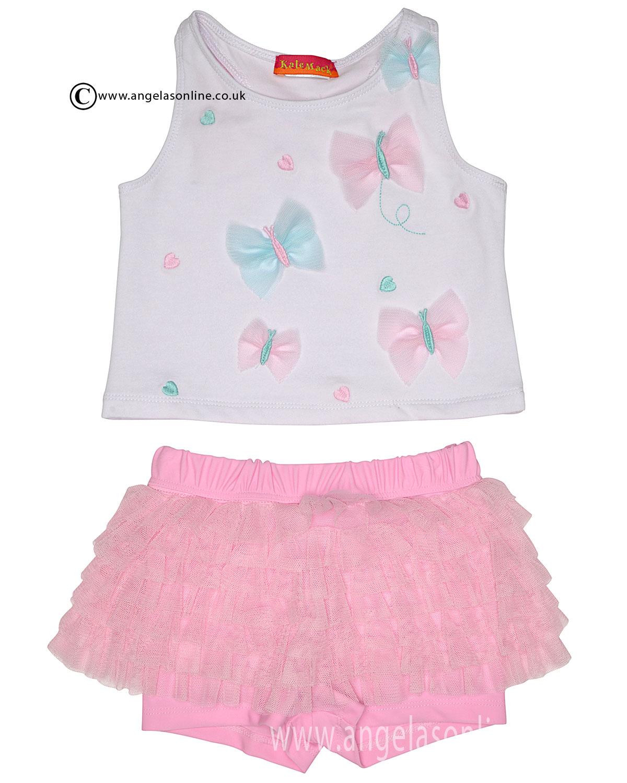 Kate Mack pale pink and white T-shirt & short set 705BW