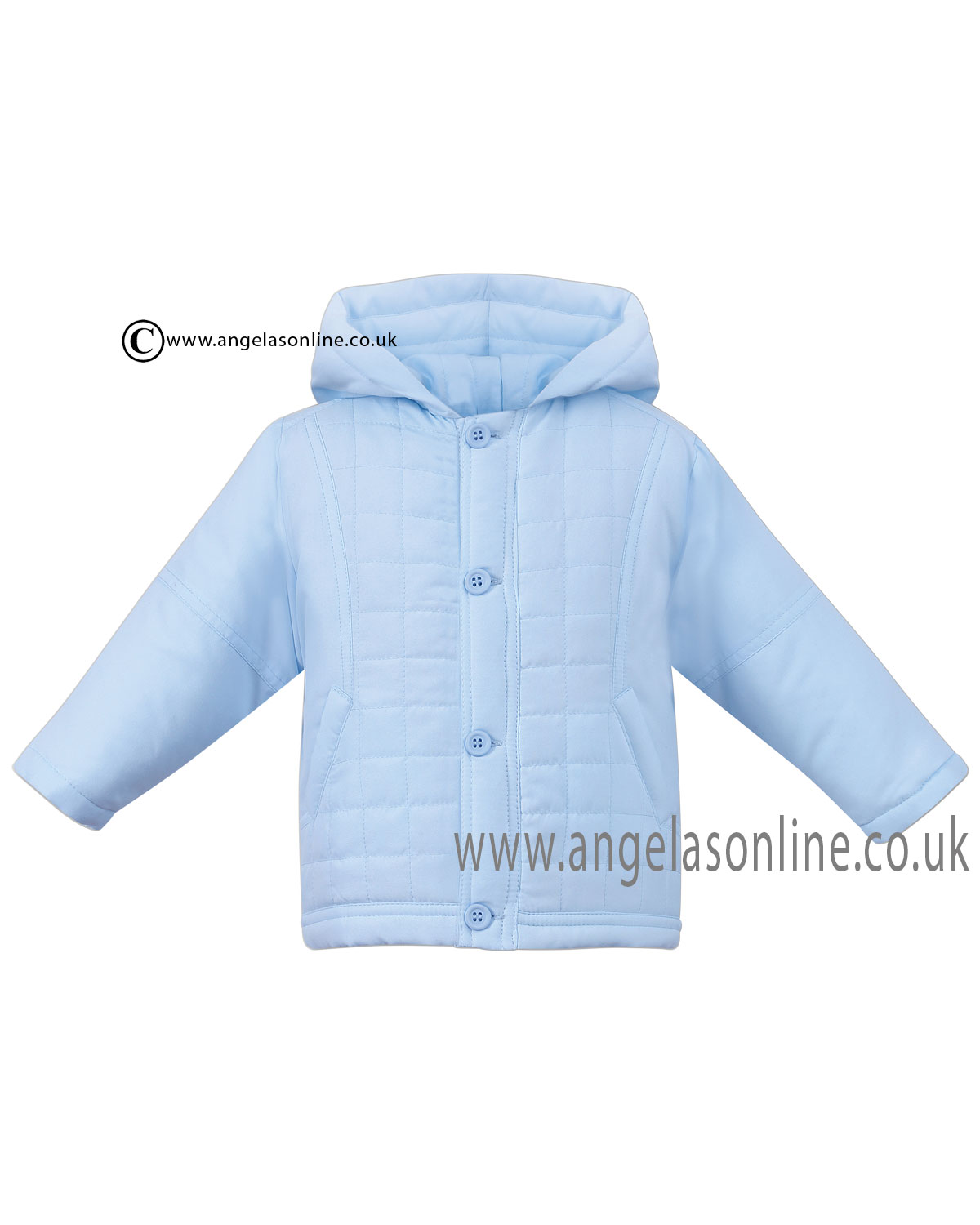 27f4272b5 Sarah Louise baby boys summer hooded pale blue jacket D09110