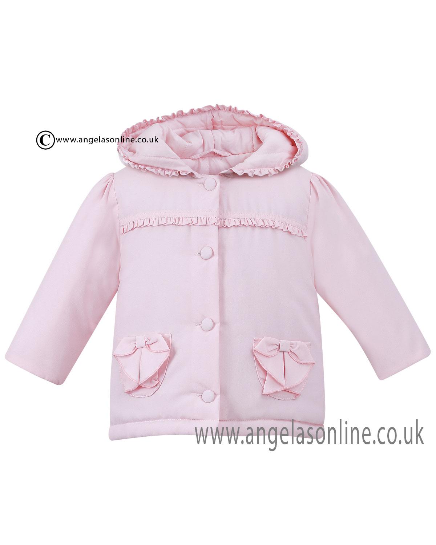 ea1eb2a25 Sarah Louise girls summer hooded ruffle detail jacket D09132 Pink