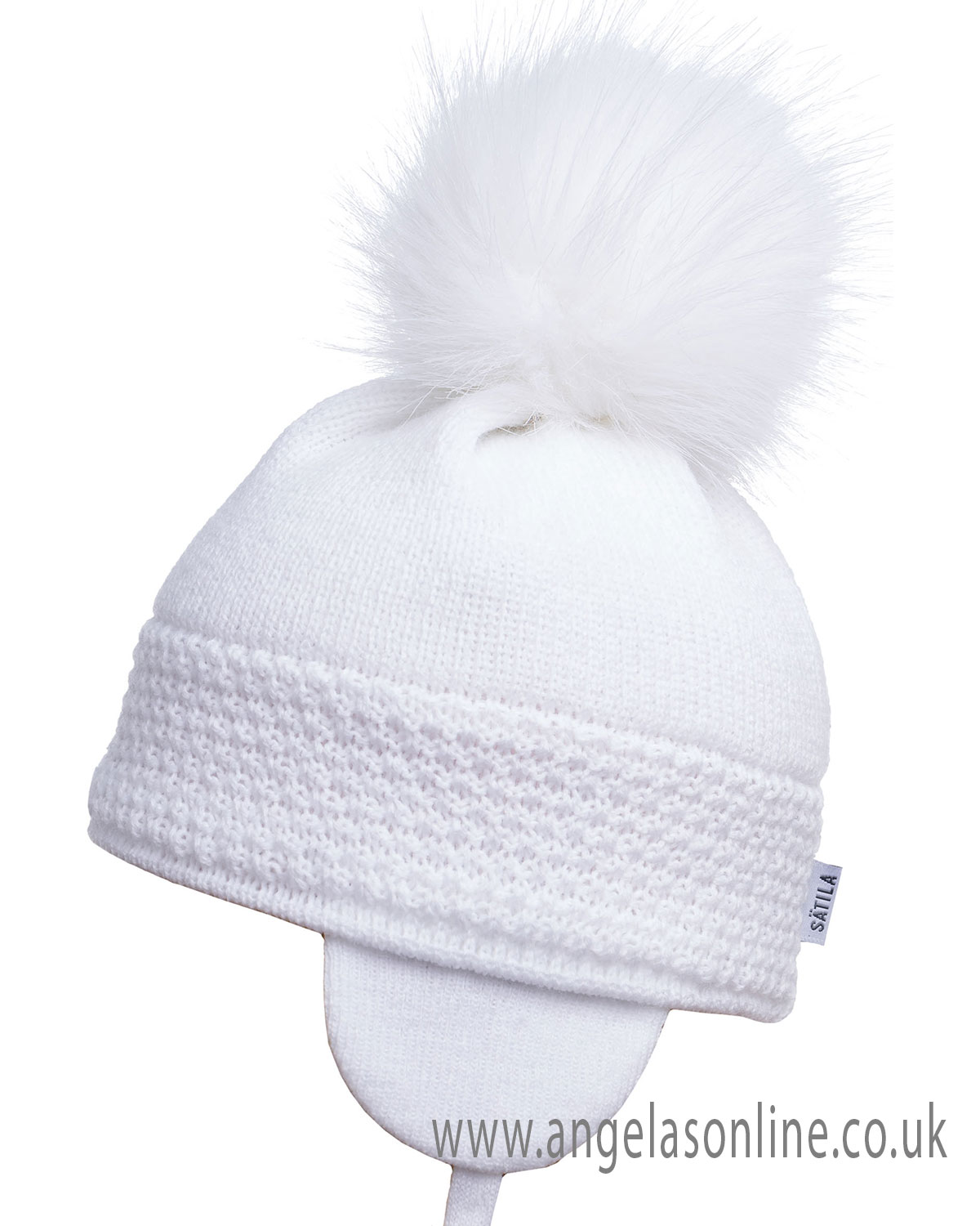 574115f294e Satila unisex baby hat with knitted embroidery and pom pom Daisy White