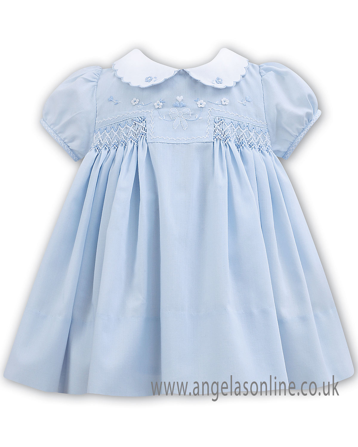 06892959 Hand smocked traditional Sarah Louise baby girls dress 011061 Blue