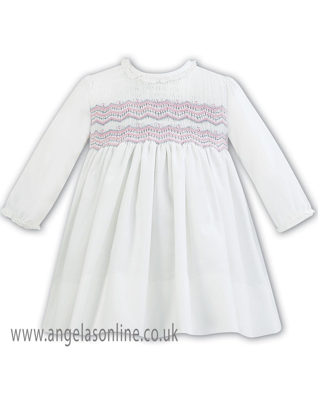 Sarah Louise Baby Girls Long Sleeve Sale Smock Dress 7-7 IV/PK