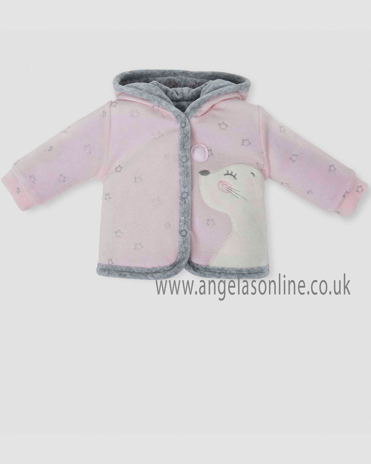9575824c7 Tutto Piccolo baby girls grey & pink velour hooded duffle coat 5588-18
