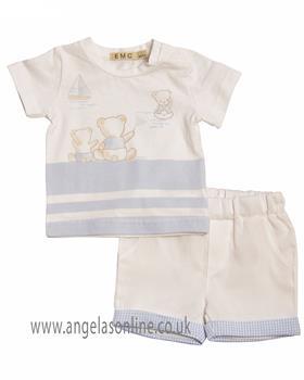 EMC Baby Boys Tshirt & Short CO2500-19 BLUE