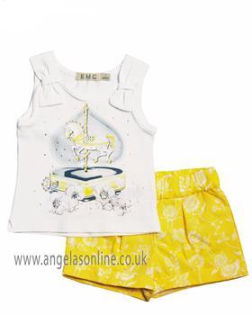 EMC Baby Girls Short Set CO2506-19 Lemon