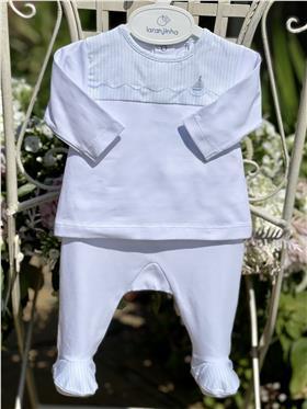 Laranjinha baby boys top & footsie V9084-19 White