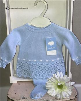 Macilusion baby boys knitted jumper & footsie 7206-19 Blue