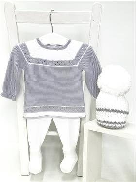Macilusion baby boys knitted jumper & footsie 7201-19 Grey