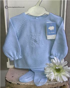 Macilusion baby boys knitted teddy jumper & footsie 7205-19 Blue