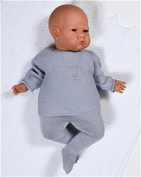 Macilusion baby boys knitted teddy jumper & footsie 7205-19 GREY