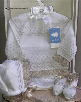 Macilusion baby girls knit jumper pant & bootee 7230-19 White