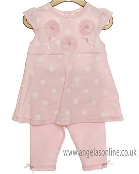 Mintini baby girls 2 piece set MB2454A-19 Pink