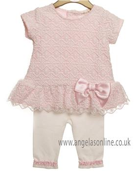 Mintini baby girls 2 piece set MB2357A-19 Pink