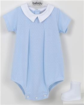 Babidu baby boys short sleeve romper 15240-19 blue
