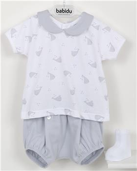 Babidu Baby Boys Two Piece Whale Set 42288-19 GREY