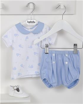 Babidu Baby Boys Two Piece Whale Set 42288-19 BLUE