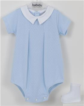 Babidu Baby Boys Smocked Two Piece 43320-19 WH/BL