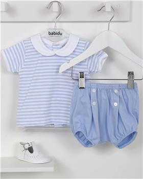 Babidu Baby Boys Two Piece Striped Set 42286-19 BLUE