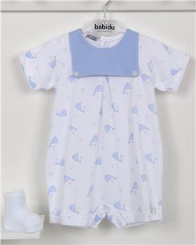 Babidu baby boys short sleeve whale romper 15288-19 blue