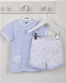 Babidu Baby Boys Two Piece Set 42287-19 BL/WH