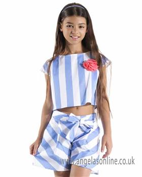 Jeycat girls striped top and short set JCJSH1087-1089-19 Bl/Wh