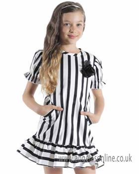 Jeycat Girls Dress JCJDR994-19 WH/BLK
