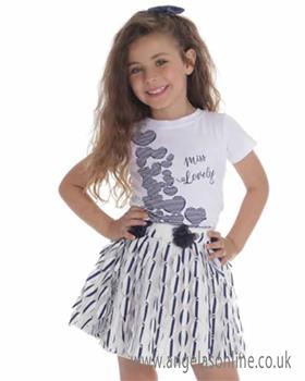 Jeycat girls top & skirt set JCBTS966-970-19 Wh/Nvy