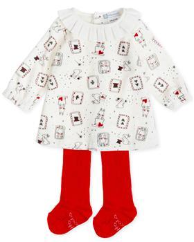 Tutto Piccolo girls dress & tights 7792-19 Cr/Rd