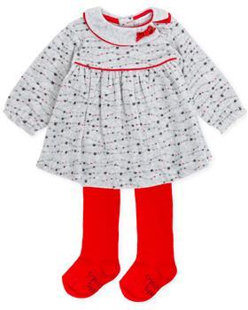 Tutto Piccolo girls dress & tights 7794-19 Gr/Rd
