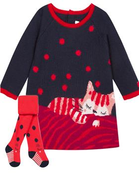 Catimini girls dress & spot tights CP30183-94043-19 Blue