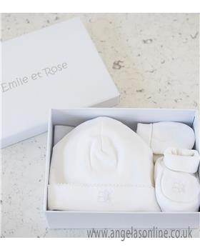 Emile et Rose hat-bootee-mitt set 4228wh Nox