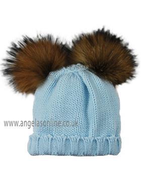 Sardon Boys Double Fur Pom Hat MA-283-19 BLUE