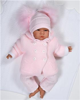 Sardon Baby Girls Knitted Jacket with Ears VE-324-19 PINK