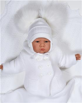 Sardon Baby Knitted Jacket with Ears VE-324-19 WHITE